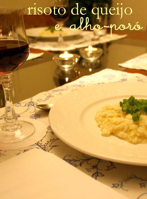 risoto de queijo e alho-poró